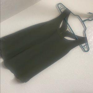 Hunter green zip back tank